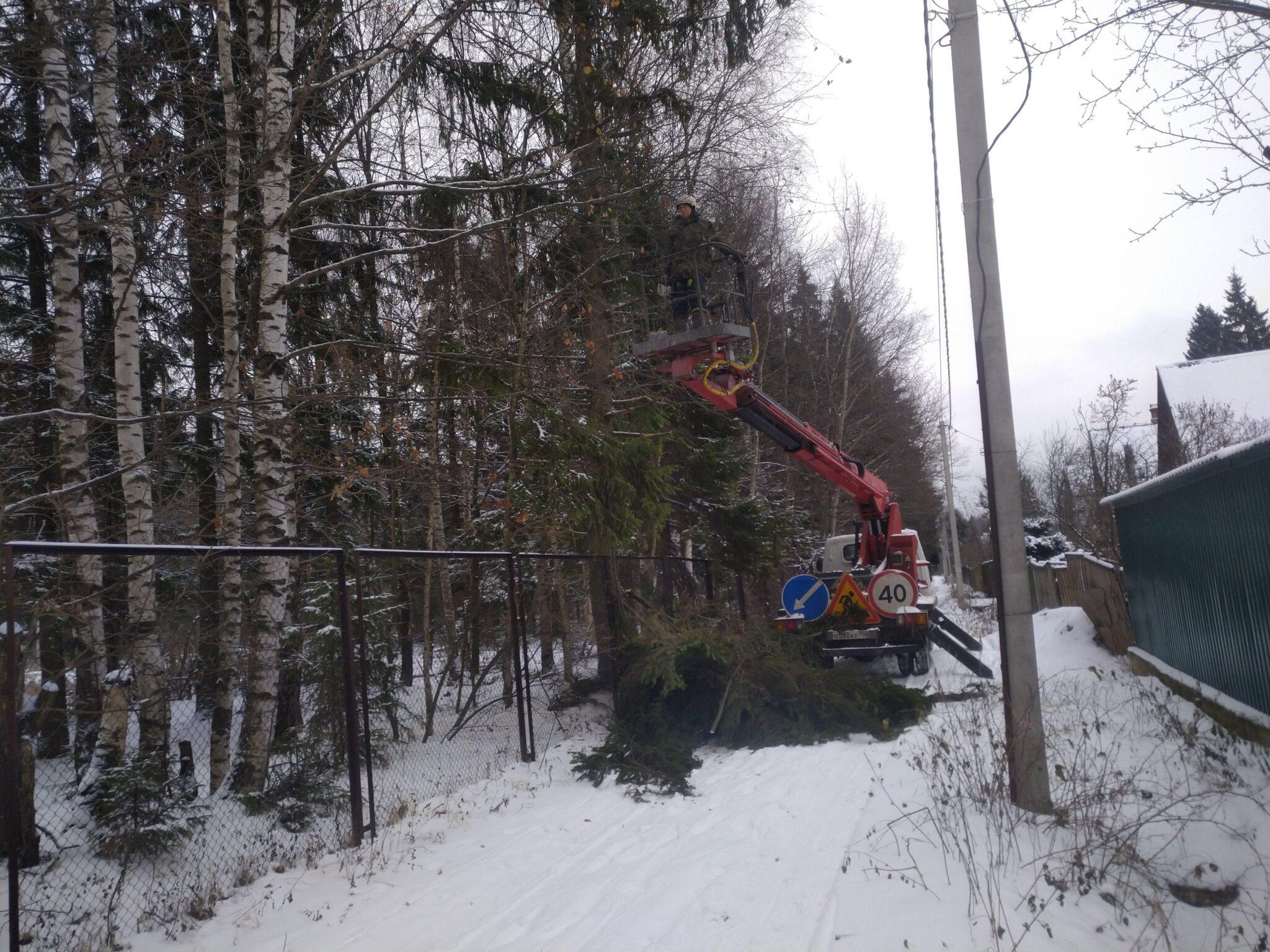 Обрезка деревьев над ЛЭП и проезжей частью в СНТ Союз 6, Хотьково, Сергиево – Посадский район